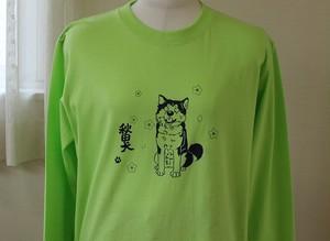 秋田犬Tシャツ長袖Mサイズ(お花見秋田犬・ライムグリーン)