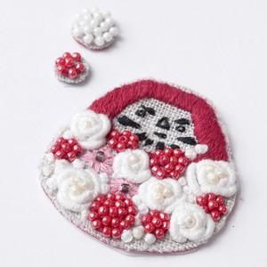 手刺繍シール ししゅール「花ダルマ RD」刺繍ステッカー スマホ 花刺繍 ワッペン