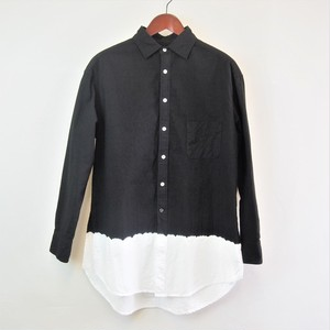 <OSOCU> Chita-momen long shirt black dye white hem