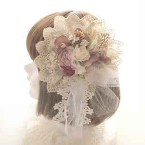 1点物★ヘッドドレス&コサージュ(IV×PU)