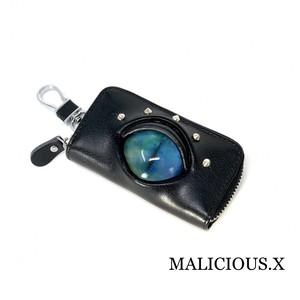 cat eye key case / blue