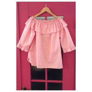 ヴィンテージ ブラウス トップス オフショルダー ピンク 刺繍