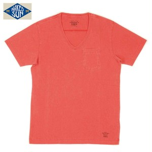 NS003006 USA COTTON V NECK Tee / RED