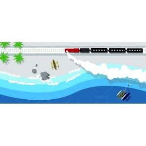 DL用 鉄道のある風景 海岸線とSL