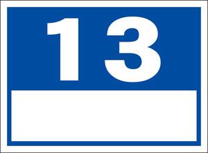 シンプル看板「番号票13(白窓付)」屋外可・送料無料