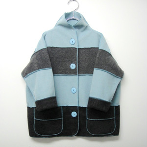 marsh fe' border fleece Blue☓Gray KFJ0004