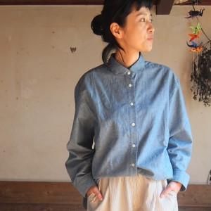 丸襟ダンガリーシャツ ライトブルー
