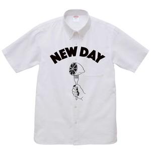NEW DAY オックスフォードボタンダウンシャツ-White-〈半袖〉