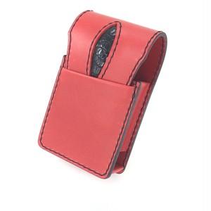 タバコケース 赤革×クロコダイル ステッチ:黒
