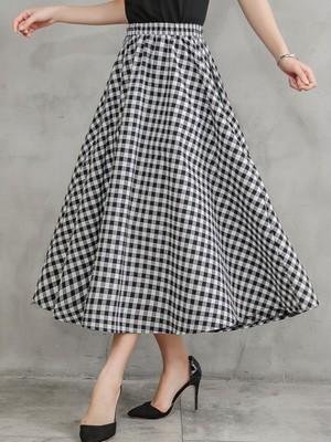 【bottoms】Summer fashion plaid maxi skirt