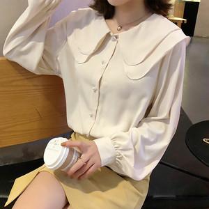 【トップス】韓国スタイル付け襟シフォンフリルシャツ・3色
