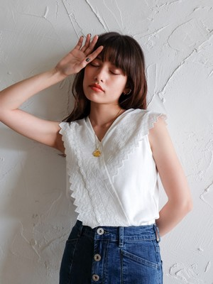 cotton-lace waffle combi tops(white)