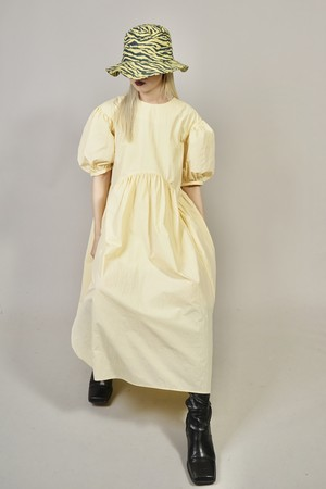 GATHER PUFF SLEEVE ONE PIECE   (YELLOW) 2103-95-12