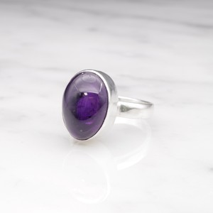 SINGLE BIG STONE RING SILVER 005