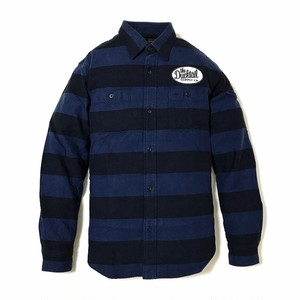 """DUCKTAIL CLOTHING LONG SLEEVE PRISON BORDER FLANNEL SHIRTS """"THE LOWER"""" NAVY ダックテイル クロージング ヘビー フランネルシャツ"""