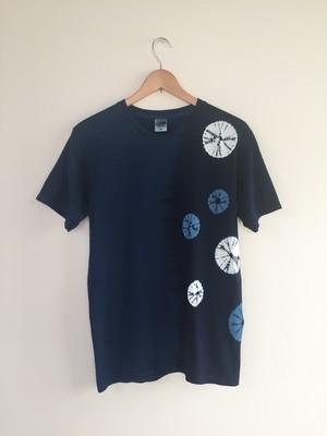 藍染半袖Tシャツ(男女兼用M 蜘蛛絞り)