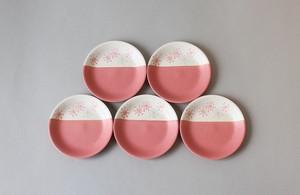 わたげ模様の磁器の銘々皿(ピンク) ・ 晋山窯ヤマツ(美濃焼おかみ塾)
