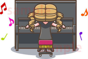 アップライトピアノをひく女性のイラスト素材