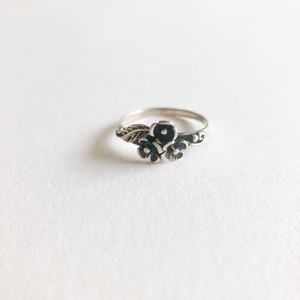 silver 925 flower pinky ring #3-4[r-130]