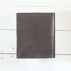 二つ折り財布マネークリップ型ボックスコインケース付き ダークブラウン
