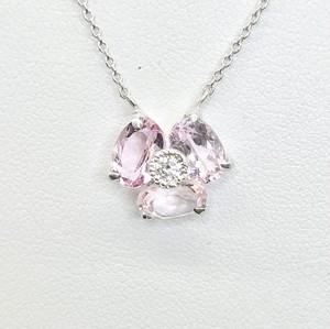モルガナイトクローバーネックレス K18WG×モルガナイト×ダイヤモンド