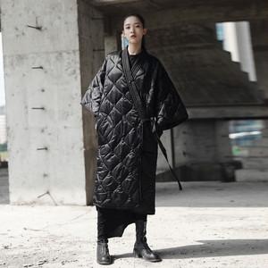 秋冬 モード系 中綿 ダウン 和風 着物 ベンチコート キルティング ビッグサイズ 羽織 コート ジャケット ダウンコート シンプル 無地 ブラック