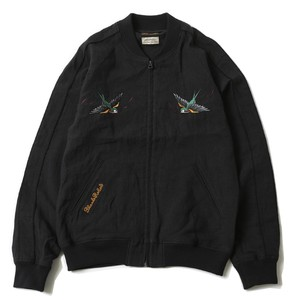 "RUDE GALLERY BLACK REBEL ""SWALLOW LINEN SOUVENIR JACKET < ART WORK by H.U. >"""