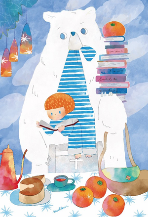 ポストカード「オレンジとお茶とケーキ」