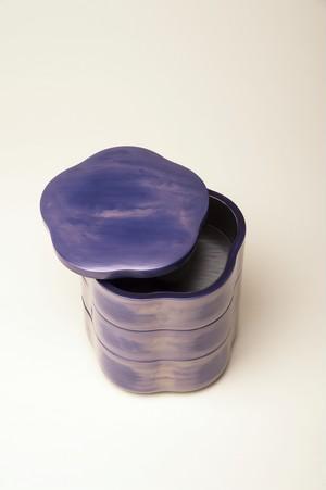 紫漆刷毛目重箱(五寸三段)