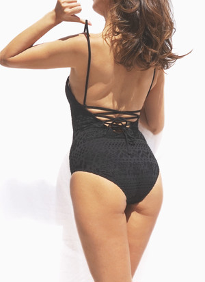Lace Up One Piece - Black Crochet
