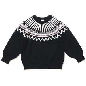 KIDS NORDIC KNIT TOP - BLACK