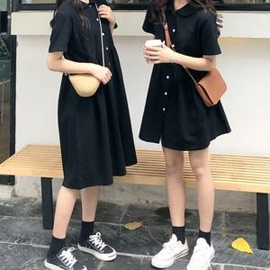 【ワンピース】無地レトロシングルブレストワンピース