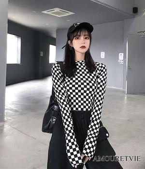 Tシャツ カットソー 長袖 白黒 チェック柄 レトロ ピープス オルチャン 韓国ファッション 921
