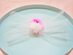 tulle ribbon flower hair elastic