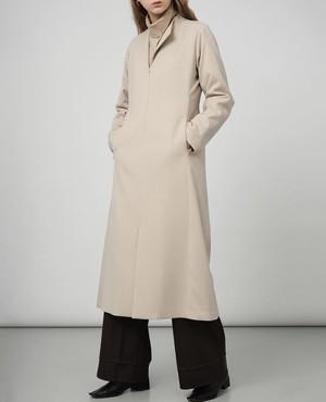 """nude"" asymmetric collar dress - almond -"
