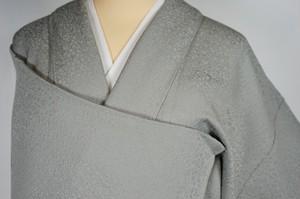 未使用 紋意匠 橘 桜 色無地 正絹 一つ紋 銀鼠 グレー 437