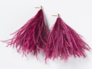 Ostrich Feather Pierced Earrings