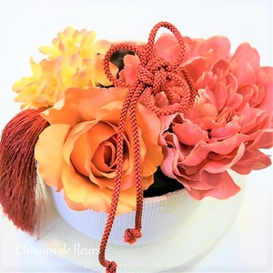 《着物用髪飾り》サーモンピンク、オレンジ、赤の組み合わせが使いやすい!大輪ピオニーのパーツセット