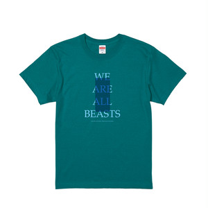 """We Are All Beasts"" T-Shirt / AppleGreen × Light Blue × Blue"
