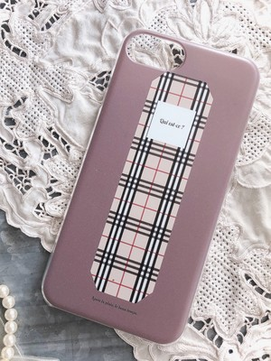 【for iPhone】くすみピンク×チェック iPhoneケース
