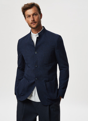 UNSTRUCTURED MANDARIN COLLAR JACKET