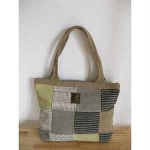 <フェアトレード>パッチワーク トートバッグ  草木染め Bタイプ ネパール 手織り WSDO バッグ