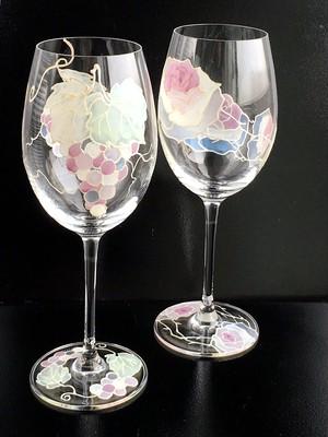 【ブドウ・愛情】花言葉 信頼・愛情ペアクリスタルワイングラス|両親プレゼント・結婚式乾杯記念日グラス・両親贈呈品・結婚祝い