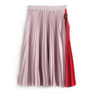 PINK×REDプリーツミモレ丈スカート