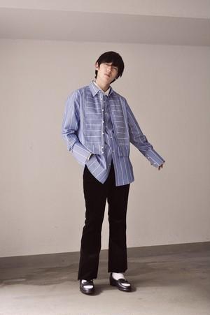 『GEN IZAWA』ショートシャツブルゾン(ブルーストライプ)