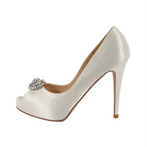 Satin Crystal Embellish Open Toe Pumps-White