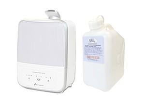 超音波噴霧器MX-200適用床面積約14畳用、200ppm 微酸性次亜塩素酸水「除菌ジアプラス」 5Lセット ノズル付き