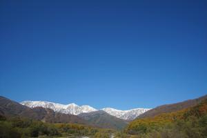 秋の白馬村の景観②、三段紅葉、白馬大橋より(デジタルコンテンツ)