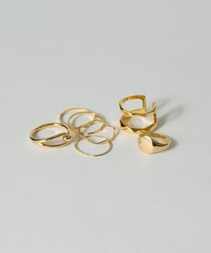 Deformed Narrow Rings 5 set & Double & Stamp Rings 2 set
