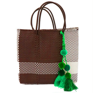 MERCADO BAG CROSS LINE with POMPON - Brown x White(M) with GREEN MIX